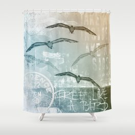 Free Like A Bird Seagull Mixed Media Art Shower Curtain