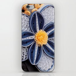 Blue Paper Quilled Flowers Floral Home Decoration Abstract Still Nature Art iPhone Skin