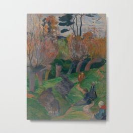 Brittany Landscape with Cows Metal Print