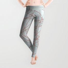 Rose Gold Glitter Line Art On Teal Leggings