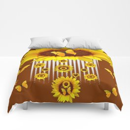 MODERN YELLOW BUTTERFLIES & SUNFLOWERS COFFEE BROWN Comforters