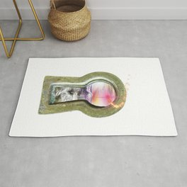 Keyhole to another world surrealism digital art Rug
