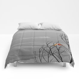 Red Cardinal Birds Black and White Beach Coastal A195 Comforters
