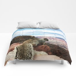 Squirrel Overlooking Grand Canyon Comforters