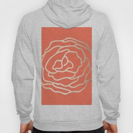 Rose White Gold Sands on Deep Coral Hoody