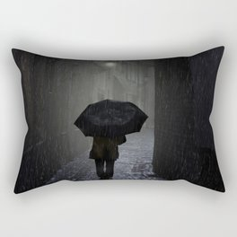 Night walk in the rain Rectangular Pillow