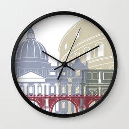 Rome skyline poster Wall Clock