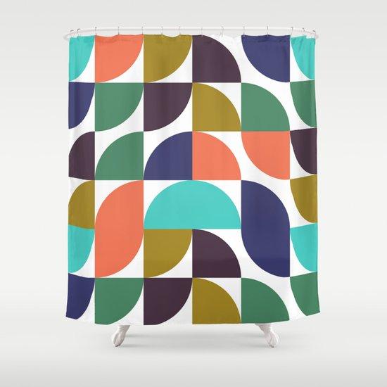 mod geo pattern Shower Curtain