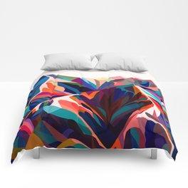 Mountains sunset warm Comforters