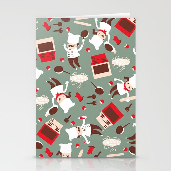Chef pattern Stationery Cards