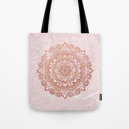 Mandala on concrete - rose gold Tote Bag