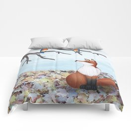fox and eastern bluebirds Comforters