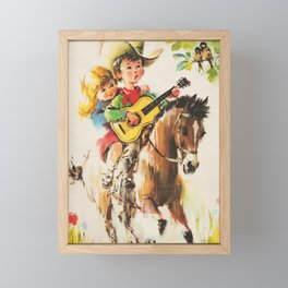 Little Cowboy Framed Mini Art Print