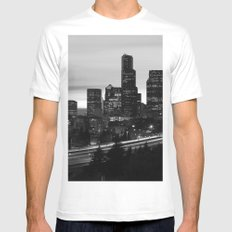 Seattle Skyline Sunset City - Black and White White MEDIUM Mens Fitted Tee