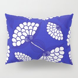African Floral Motif on Royal Blue Pillow Sham