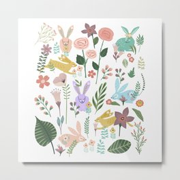 Springtime In The Bunny Garden Of Floral Delights Metal Print