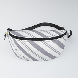 Pantone Lilac Gray and White Stripes Angled Lines Fanny Pack