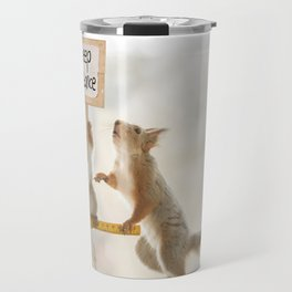 squirrels keeping distance Travel Mug