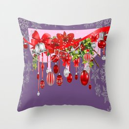 PURPLE WINTER SNOWFLAKES CHRISTMAS DECORATIONS ART ABSTRACT Throw Pillow