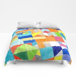 Playful Colorful Architectural Pattern Comforters