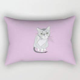 The drawing of cute grey tired cat Rectangular Pillow