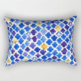 Rustic Watercolor Moroccan in Royal Blue & Gold Rectangular Pillow