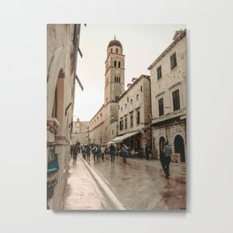 Rustic Cityscape | European Street Charming Dome Tower Muted Moody Fairytale City Photograph Metal Print