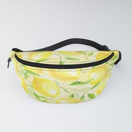 Lemons with leaves watercolor pattern Fanny Pack