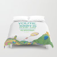 dr seuss Duvet Covers featuring YOUR MOUNTAIN IS WAITING.. DR. SEUSS, OH THE PLACES YOU'LL GO  by studiomarshallarts