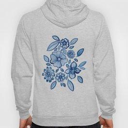 Blue Folk Flowers Hoody