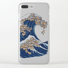 The Great Wave of Shiba Inu Clear iPhone Case