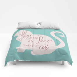 Shabby chic illustration - all you need is love (and a CAT), typography, interior design, cats, love Comforters
