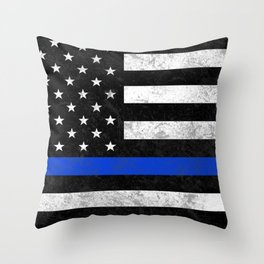 Thin Blue Line Throw Pillow