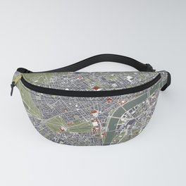 London city map engraving Fanny Pack