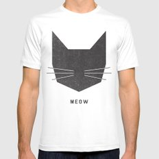 MEOW MEDIUM Mens Fitted Tee White