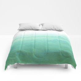 Modern hand painted green teal aqua watercolor ombre motif Comforters