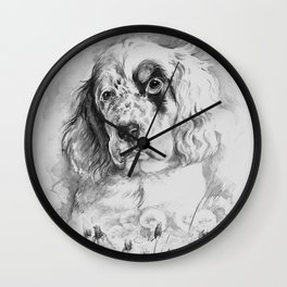 English Setter puppy Black and white portrait Wall Clock