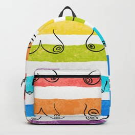 Minimal female breast size feminine body front view different boobs form Watercolor rainbow stripes Backpack