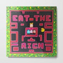 Eat the Rich Pac-Man Pop Art Gamer Acrylic Painting Metal Print