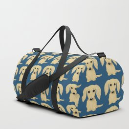 Longhaired Cream Dachshund Cartoon Dog Duffle Bag