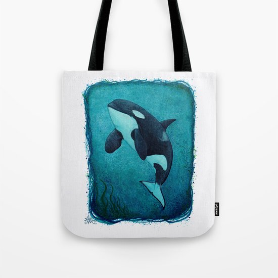 """""""The Matriarch"""" Killer Whale ~ Orca Watercolor Painting (J2 Granny) by Amber Marine Tote Bag"""
