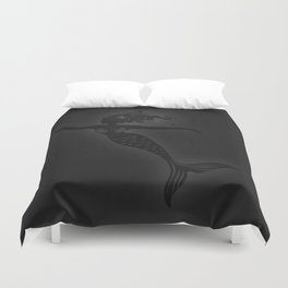 Dark mermaid playing with a shell Duvet Cover