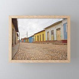 Streets of Trinidad Cuba Cobblestone Stucco Old City Colorful Latin America Caribbean Island Tropica Framed Mini Art Print