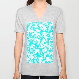 Spots - White and Aqua Cyan Unisex V-Neck