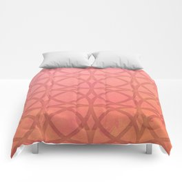coral pink minimal pattern with geometric lines Comforters