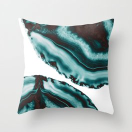 Turquoise Brown Agate #1 #gem #decor #art #society6 Throw Pillow