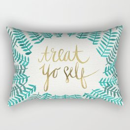 Treat Yo Self – Gold & Turquoise Rectangular Pillow
