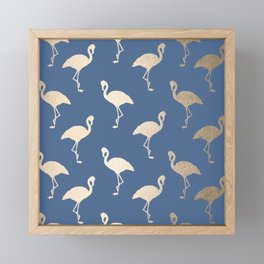 Gold Flamingo on Aegean Blue Framed Mini Art Print