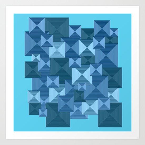 Blue Platformer Art Print