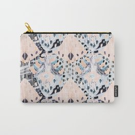 watercolor IKAT collage, mixed media, pastel pattern, pink, indigo, grey, black, sky blue Carry-All Pouch